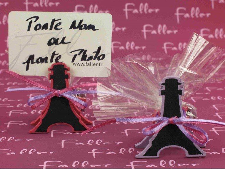 Tour Eiffel ardoise fuchsia et lilas avec dragées baptême