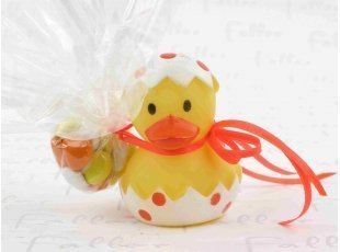 Canard de bain pois orange pochon dragées baptême