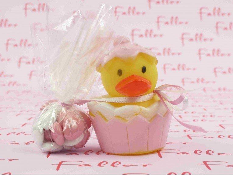 Canard de bain rose avec  dragees bapteme