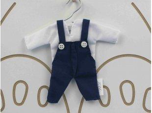 Salopette bleu marine, chemise blanche et dragées