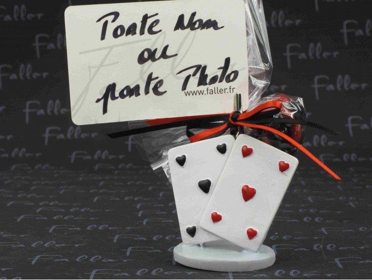 Grand porte photo jeu de carte avec dragées mariage