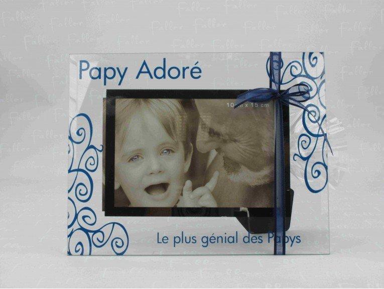 Cadre photo en verre papy avec pochon dragées