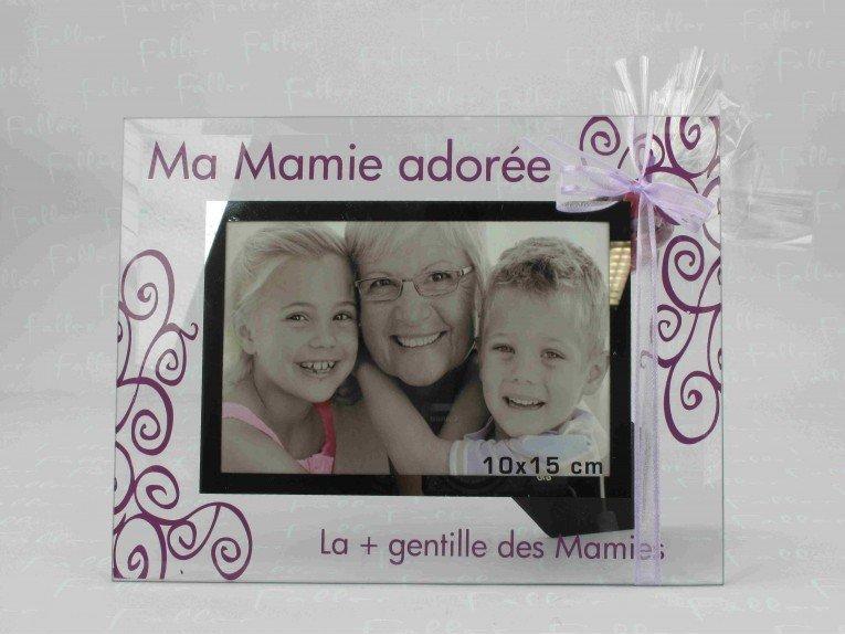 Cadre photo Mamie adorée avec dragées coeurs