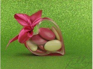 Coeur plexi ruban fuchsia et dragees pour mariage