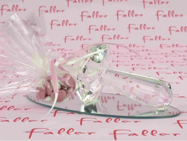 Grande tétine en verre socle miroir pour baptême fille