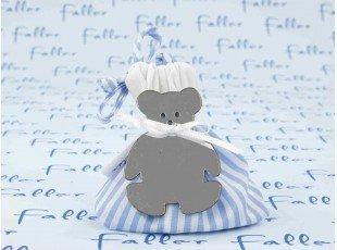 Sac dragées en tissu à rayures bleu avec ourson