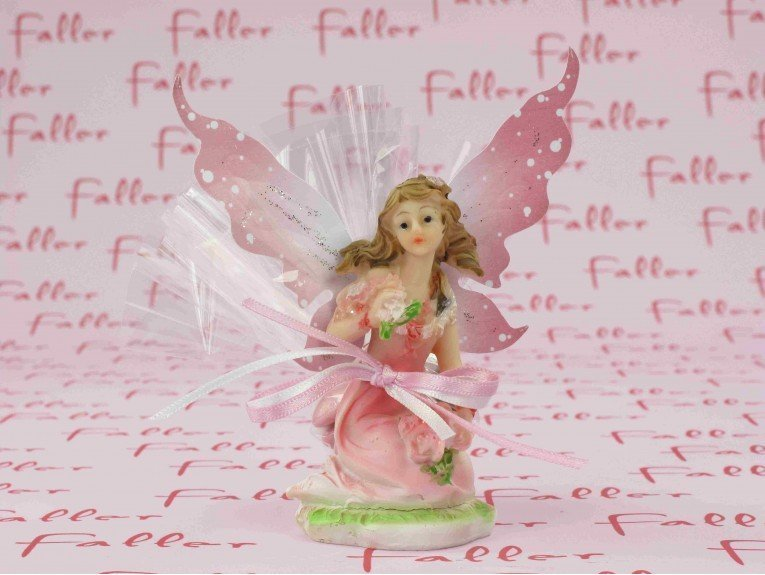 Elfe rose assise pour baptême et dragées fille