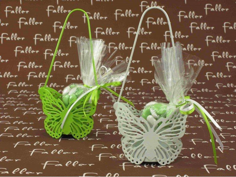 Sac métal papillon anis ou blanc avec dragées