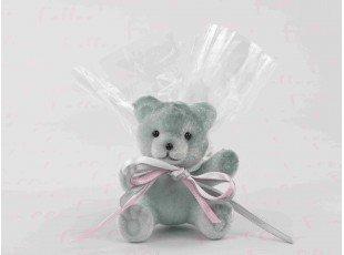 Figurine ourson en velour gris avec pochon de dragées fille