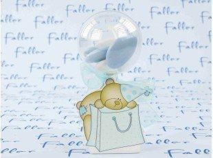 Boule à dragées baptême garçon avec déco ourson bleu