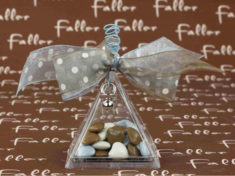 Boite pyramidale pvc avec dragées petit parisien