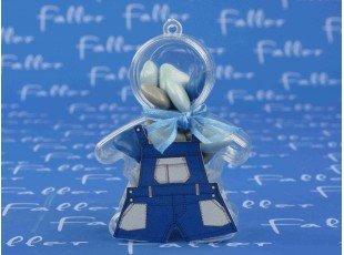 Garçon plexi avec salopette bleu marine et dragées