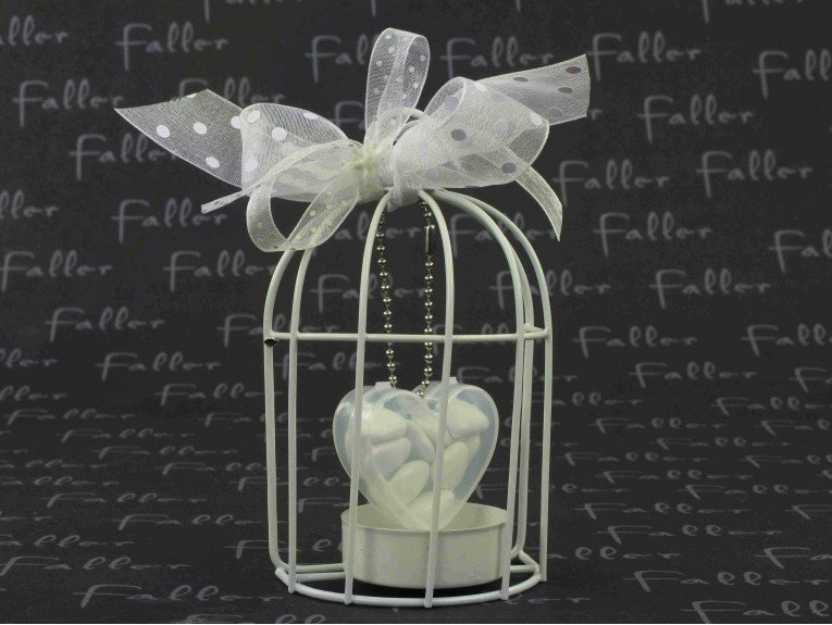 Bougeoir cage à oiseau blanche avec boite à dragées