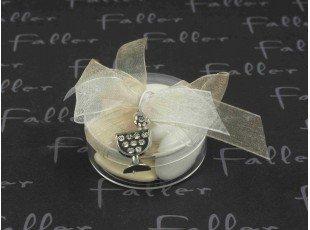 Dragées communion dans boite ronde avec bijou calice