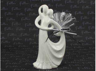 Grande statut couple de mariés blanc avec dragées