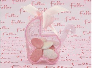 Poussette rose pvc avec dragées naissance fille
