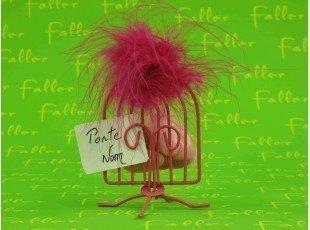 Sac à dragées bapteme  porte nom cage métal fuchsia
