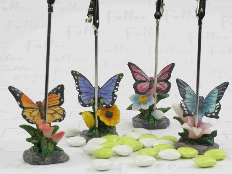 Porte carte papillon multicolore avec dragées