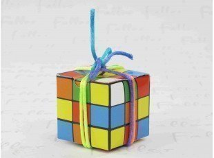 Boite à dragées cube casse tête multicolore