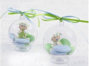 Bébés garçons anis & bleu dans boule à dragées