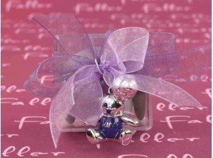 Bijou ourson Happy avec tétine sur boite dragées fille