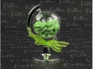Globe en plastique avec dragées chocolat coeurs anis