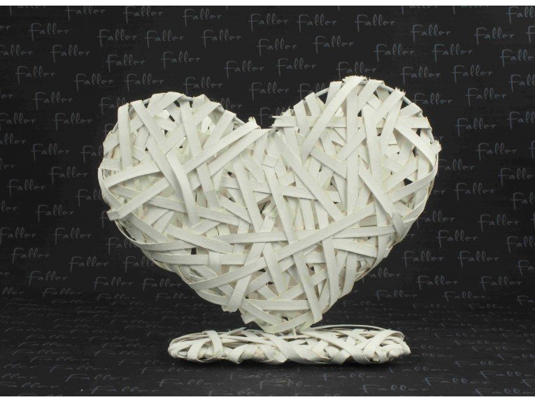 Présentoir dragées : Coeur en osier blanc (gm)