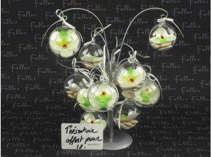 Boule mariage en plexi avec petite orchidée écrue