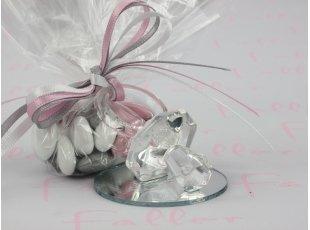 Tétine en verre sur socle avec dragées coeur fille