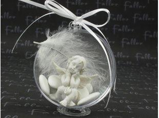 Boule de communion avec ange et plume blanche