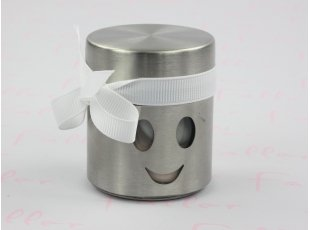 Pot smiley gris avec dragées confettis fille