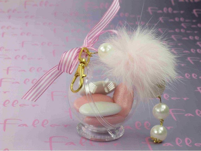 Porte-clés fourrure rose et blanc & boule plexi avec dragées fille