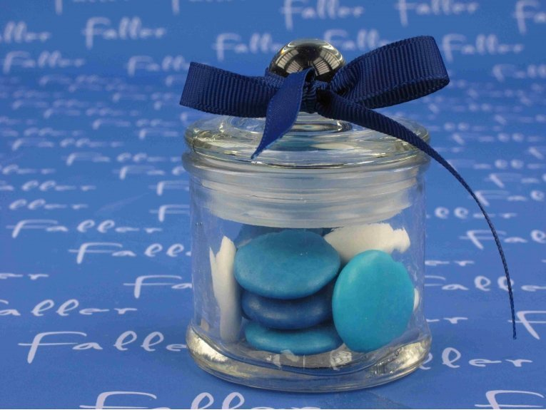 Bonbonnière à dragées baptême garçon thème bleu