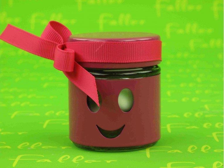 Pot smiley fuchsia contenant à dragées baptême fille