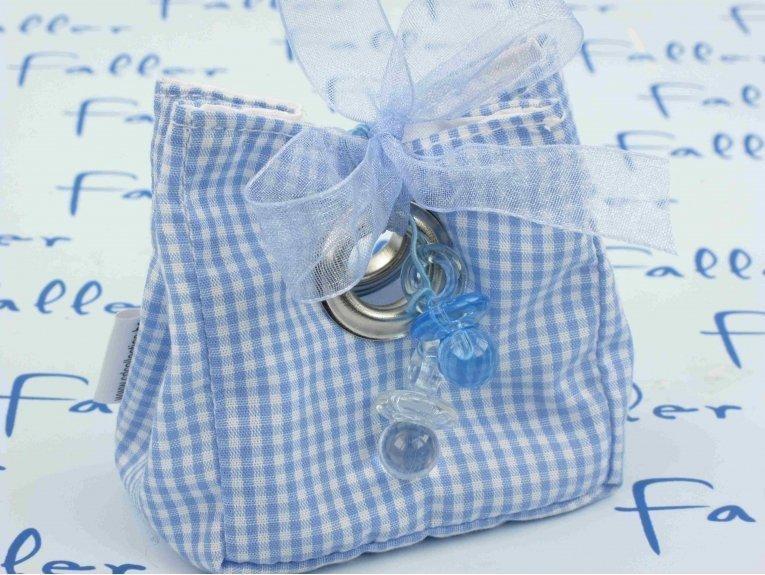 Pochon vichy bleu blanc avec tétines et dragées