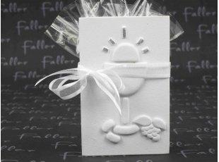 Support dragées communion tablette blanche calice gravé