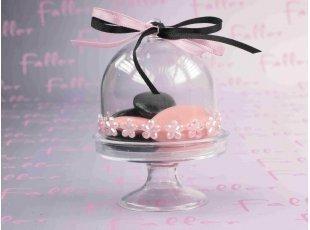 Cloche à dragées fille thème fleurs roses nacrées