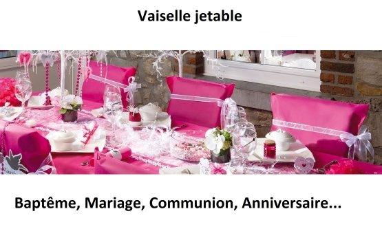 Vaisselle jetable raffinée pour mariage, soirée et fête