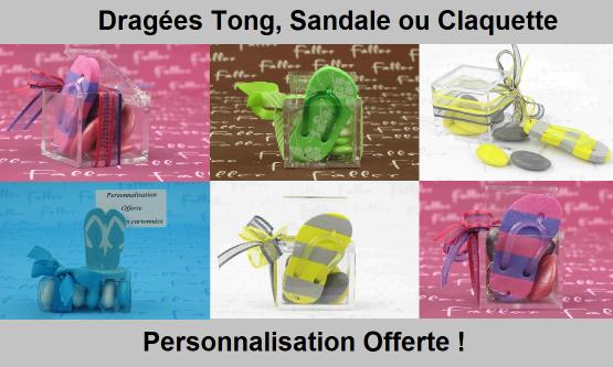 Dragées Tong, Sandale, Claquette  - Déco Baptême Pas cher