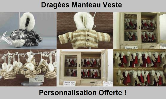 Dragées Manteau ou Veste - Déco Baptême Pas cher