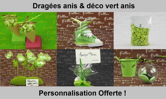 Déco dragées anis – Contenant, boite à dragées vert anis