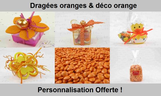 Déco dragées oranges – Contenant, boite à dragées orange