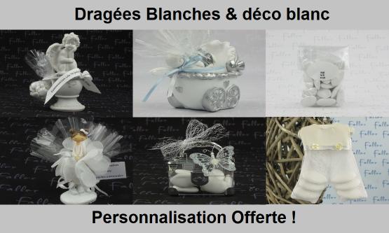 Déco dragées blanc – Contenant, boite à dragées blanches