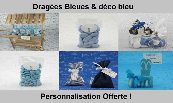 Déco dragées bleu – Contenant, boite à dragées bleues