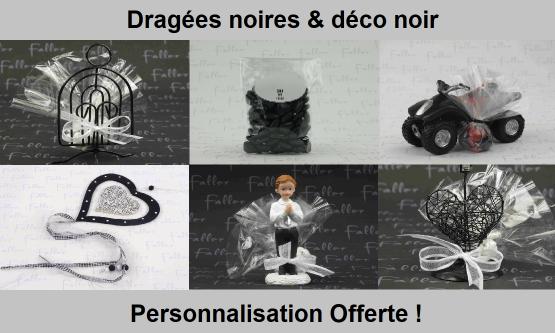 Déco dragées noir – Contenant, boite à dragées noires