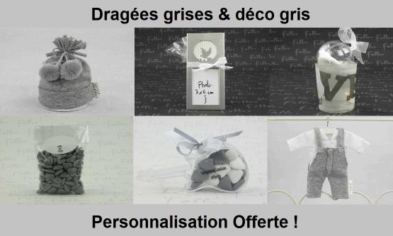 Déco dragées gris – Contenant, boite à dragées grises