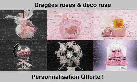 Déco dragées rose – Contenant, boite à dragées roses