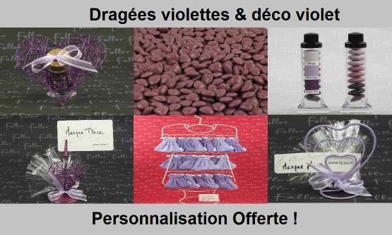 Déco dragées violet – Contenant, boite à dragées violettes