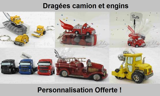 Dragées camion - Déco thème transport et chantier
